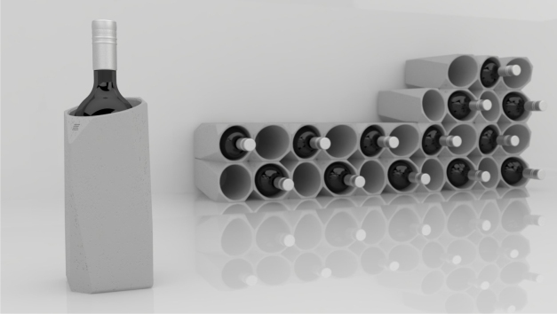 The Corvi Concrete Wine Cooler serves both form and function; concrete maintains its temperature for longer than other materials. It can also be stacked to create modern wine storage.
