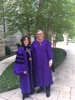 Dean Sally Blount with commencement speaker Cesare Mainardi.